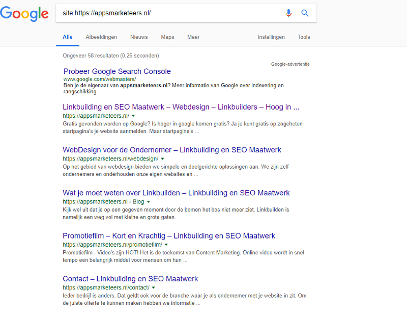 je website indexeren